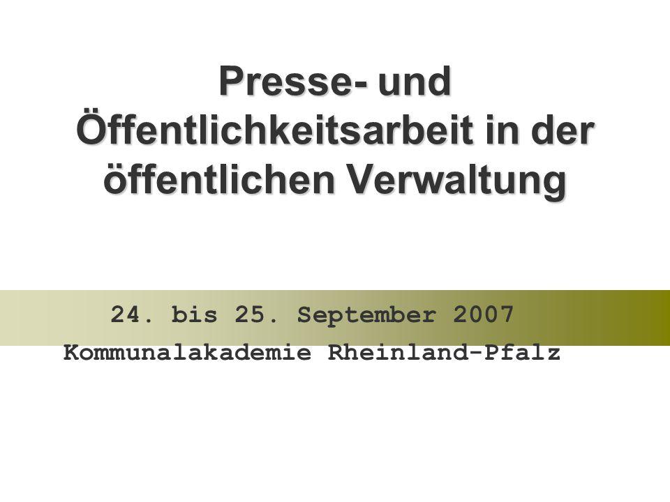 Presse- und Öffentlichkeitsarbeit in der öffentlichen Verwaltung 24.