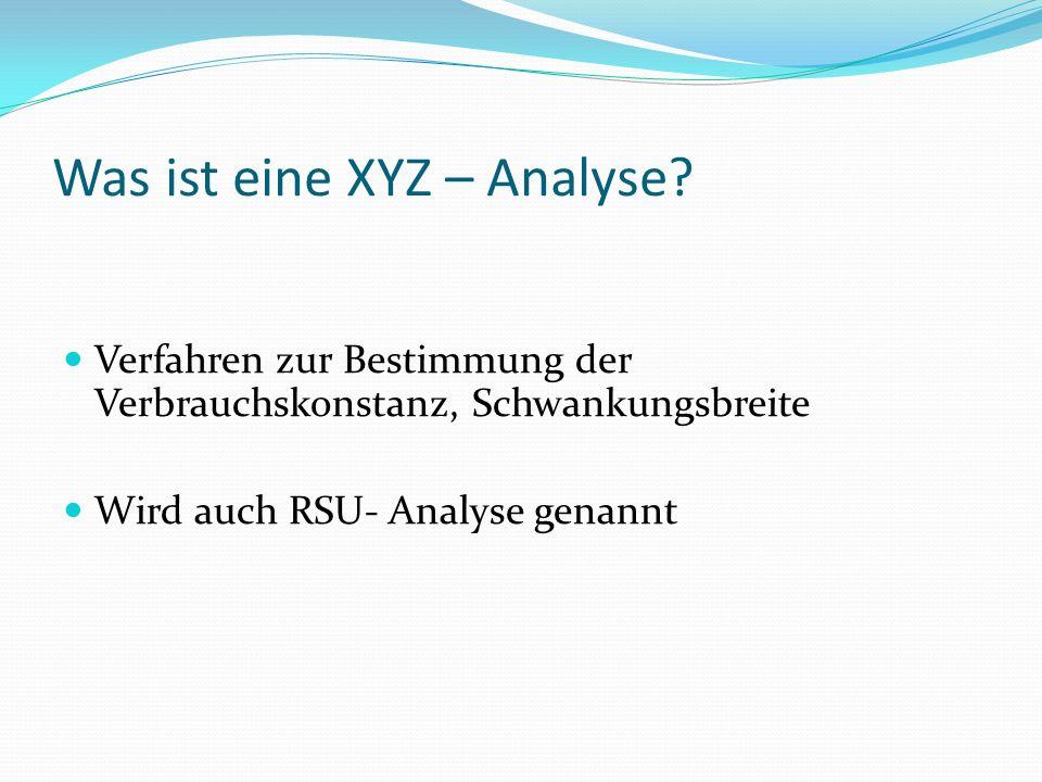 Ziel der XYZ - Analyse Ziel =>Vorhersagegenauigkeit eines Beschaffungsobjektes soll in seinem Verbrauch aufgezeigt werden
