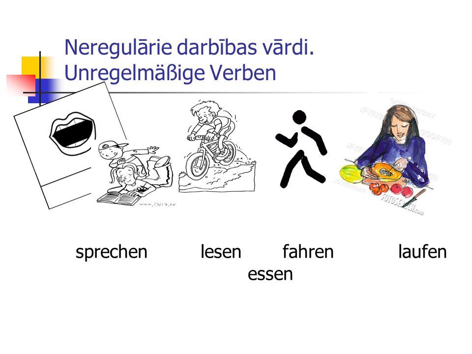 Neregulārie darbības vārdi. Unregelmäßige Verben sprechen lesen fahren laufen essen