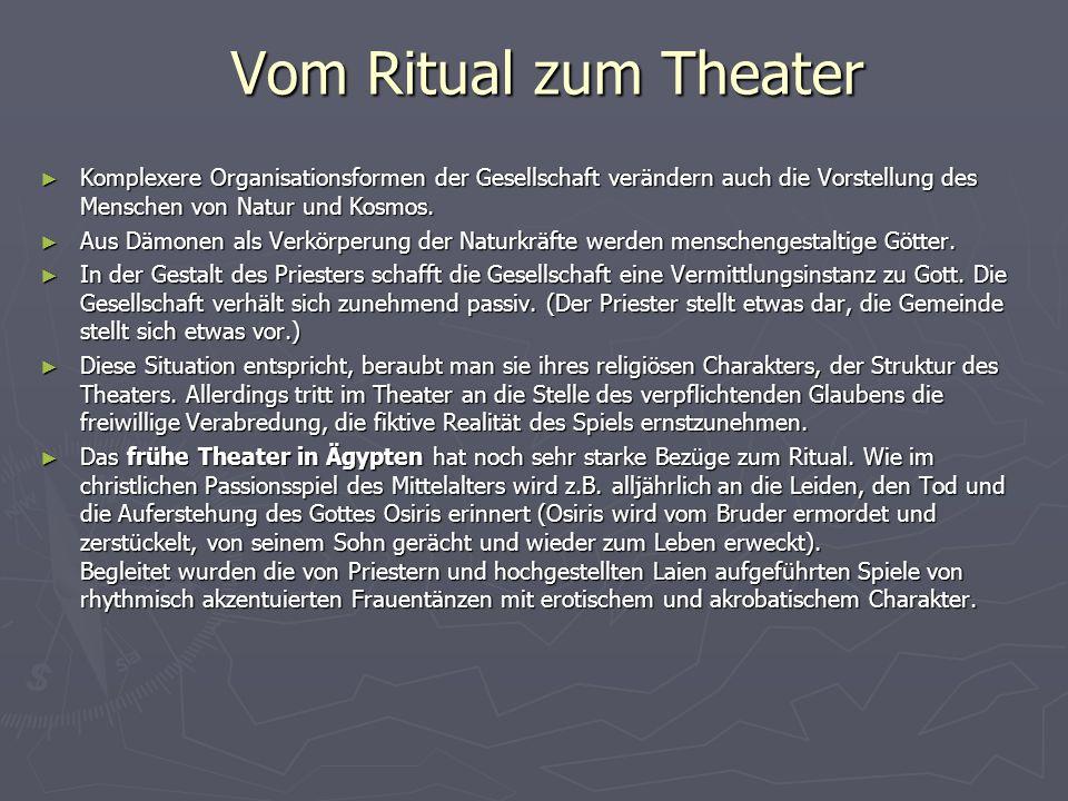 Das Theater der griechischen Klassik Auch hier stellt sich die Frage nach dem Zusammenhang zwischen Ritual und Theater.