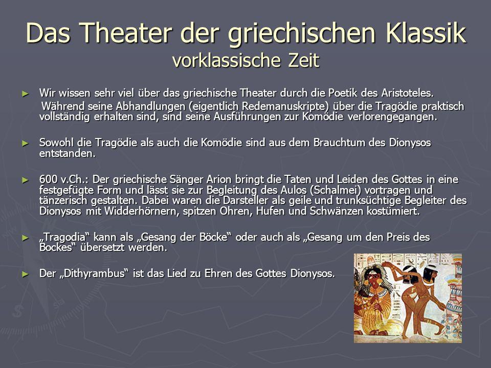 Das Theater der griechischen Klassik Dionysos Dionysos ist der Sage nach der Sohn von Zeus und der thebanischen Königstochter Semele.