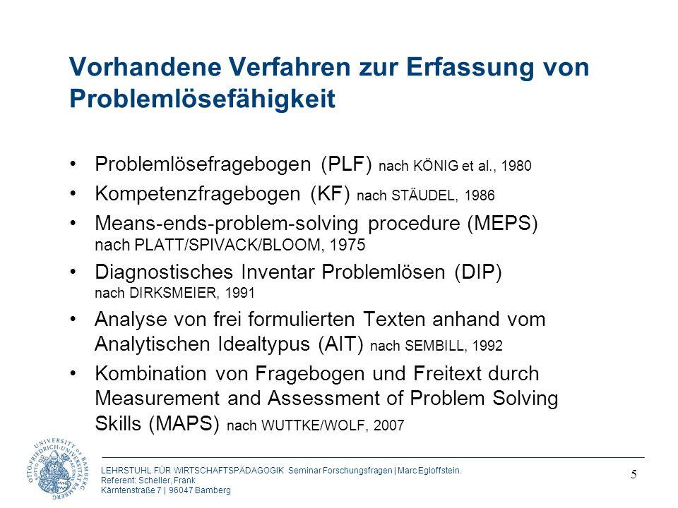 LEHRSTUHL FÜR WIRTSCHAFTSPÄDAGOGIK Seminar Forschungsfragen | Marc Egloffstein.