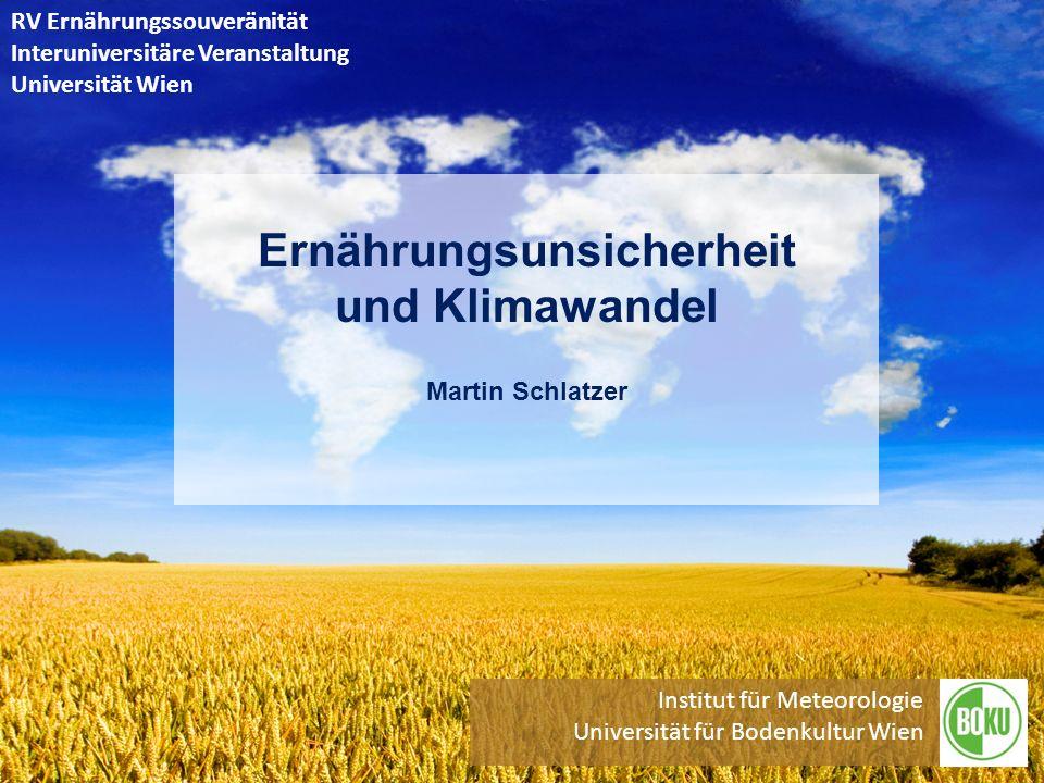 Martin Schlatzer, Institut für Meteorologie BOKU Wien, 28.5.2013 Futtermitteleffizienz, Umwelt und Ressourcen 22 4-25 kg Getreide für 1 kg Fleisch (Veredelungsverlust) 4-25 kg Getreide für 1 kg Fleisch (Veredelungsverlust) 40% der weltweiten Getreideernte und 90% der Sojaernte 40% der weltweiten Getreideernte und 90% der Sojaernte verfüttert = großes Ressourceneinsparpotential -> Statt Tierfutter für Humanernährung => +2,5 Milliarden Menschen 2-3 mal mehr Energie, Land und Wasser nötig 2-3 mal mehr Energie, Land und Wasser nötig Gehört laut FAO zu 2-3 größten Verursacher globaler Gehört laut FAO zu 2-3 größten Verursacher globaler Umweltprobleme wie Schadstoffeinträge, Regenwaldabholzung, Artenverlust