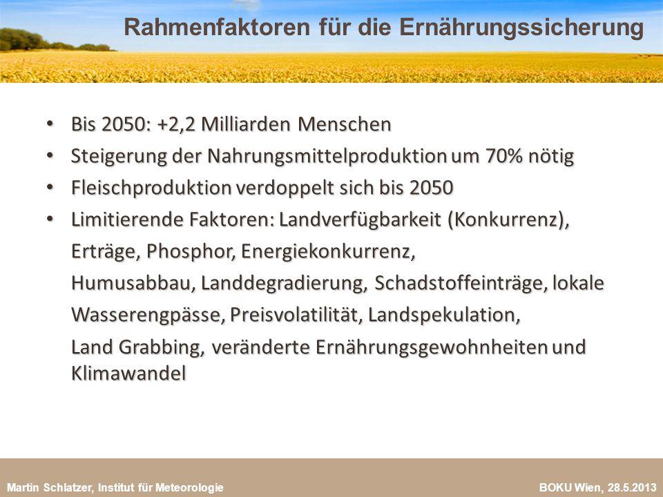 Martin Schlatzer, Institut für Meteorologie BOKU Wien, 28.5.2013 Rahmenfaktoren für die Ernährungssicherung 18 Bis 2050: +2,2 Milliarden Menschen Bis
