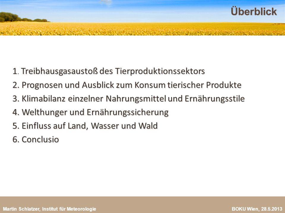 Martin Schlatzer, Institut für Meteorologie BOKU Wien, 28.5.2013Überblick 2 1. Treibhausgasaustoß des Tierproduktionssektors 2. Prognosen und Ausblick
