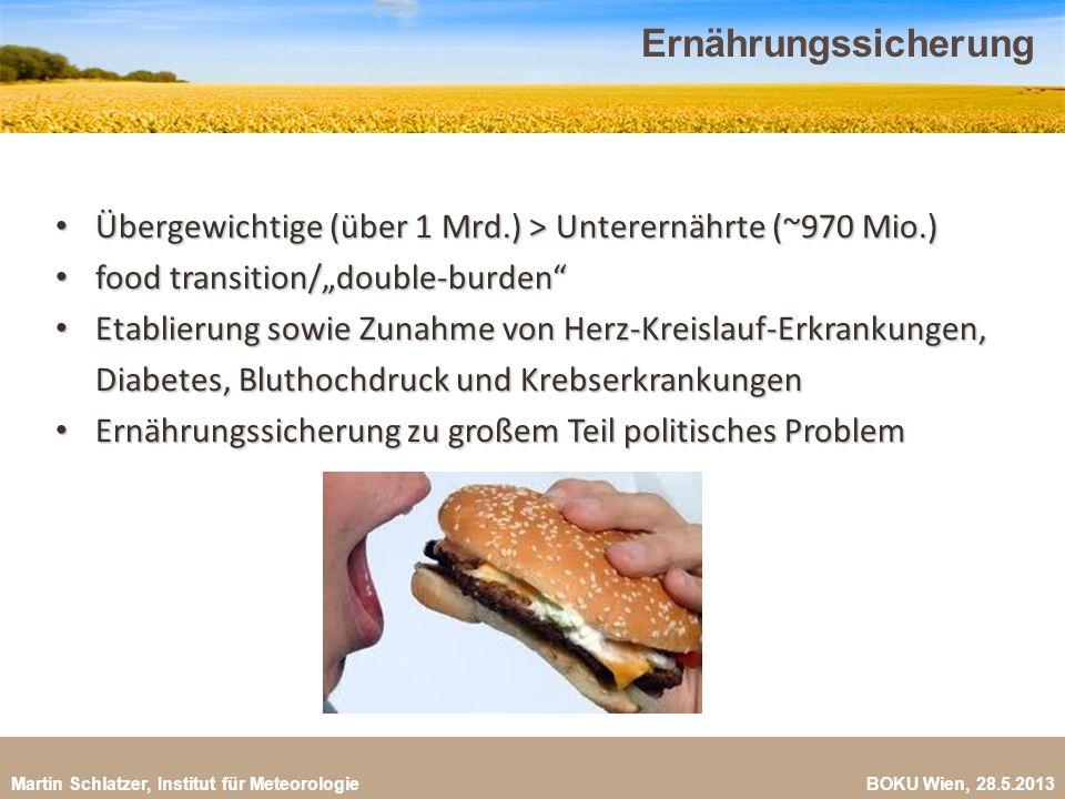 Martin Schlatzer, Institut für Meteorologie BOKU Wien, 28.5.2013 Ernährungssicherung 21 Übergewichtige (über 1 Mrd.) > Unterernährte (~970 Mio.) Überg
