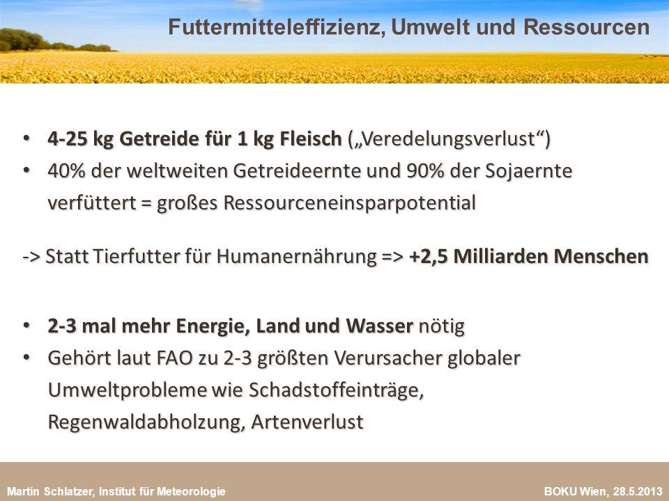 Martin Schlatzer, Institut für Meteorologie BOKU Wien, 28.5.2013 Futtermitteleffizienz, Umwelt und Ressourcen 22 4-25 kg Getreide für 1 kg Fleisch (Ve