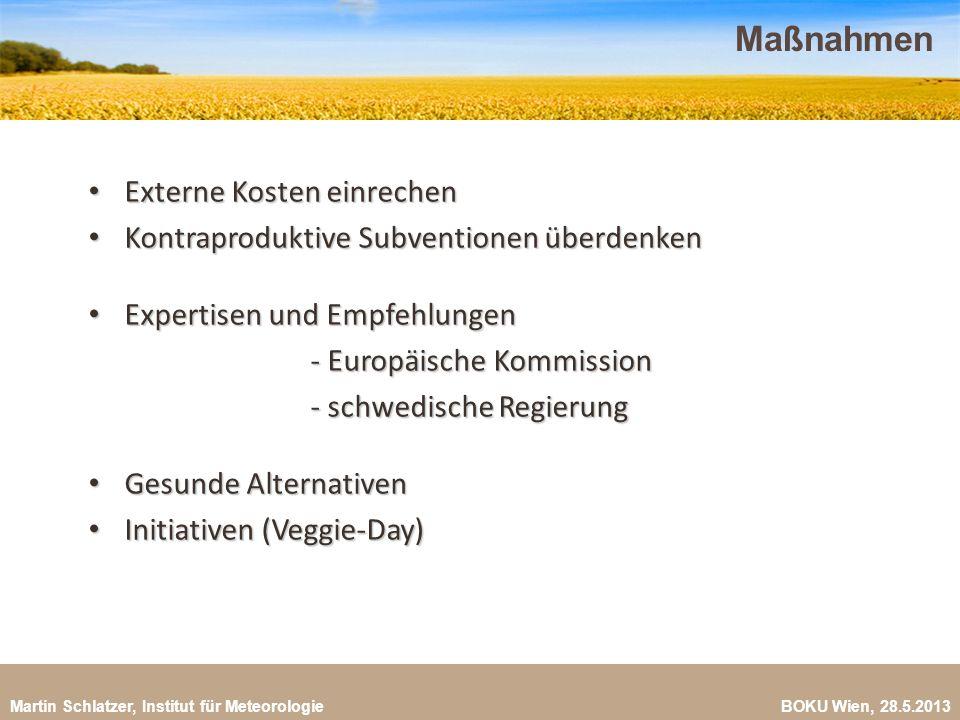 Martin Schlatzer, Institut für Meteorologie BOKU Wien, 28.5.2013 Maßnahmen 25 Externe Kosten einrechen Externe Kosten einrechen Kontraproduktive Subve