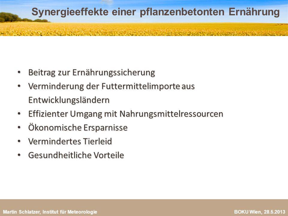 Martin Schlatzer, Institut für Meteorologie BOKU Wien, 28.5.2013 Synergieeffekte einer pflanzenbetonten Ernährung 27 Beitrag zur Ernährungssicherung B