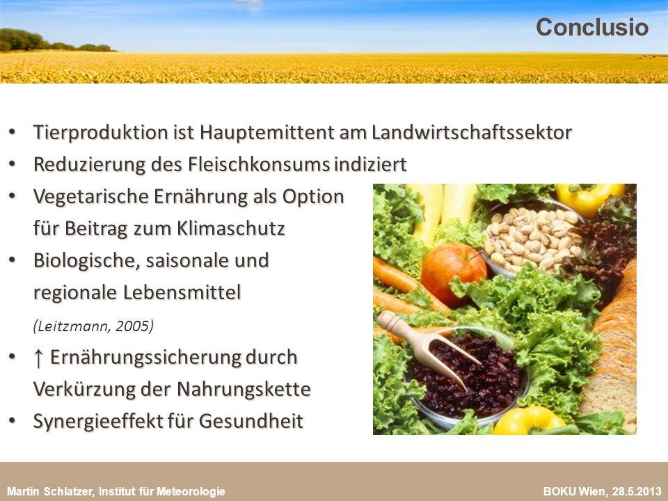 Martin Schlatzer, Institut für Meteorologie BOKU Wien, 28.5.2013 Conclusio 29 Tierproduktion ist Hauptemittent am Landwirtschaftssektor Tierproduktion