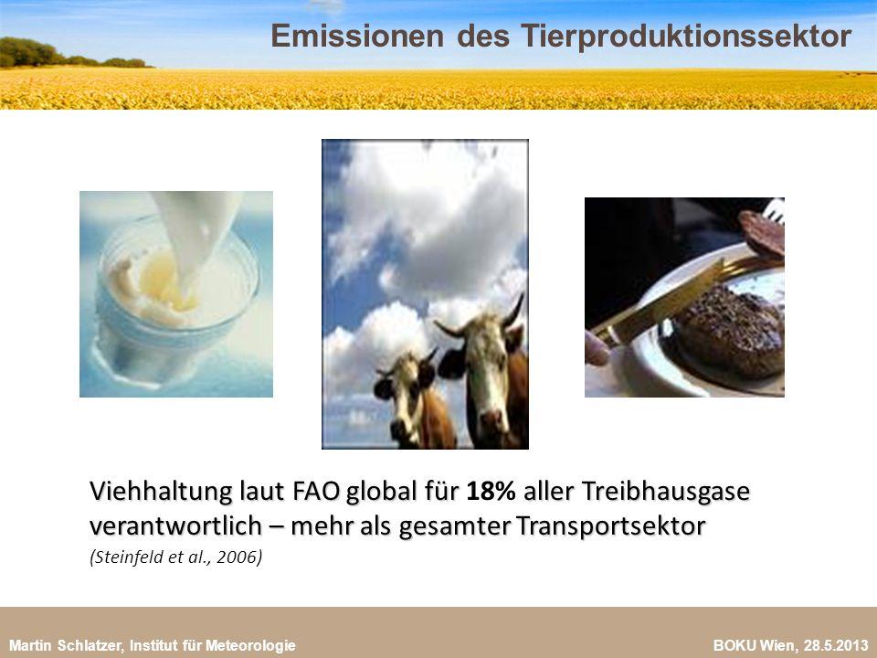 Martin Schlatzer, Institut für Meteorologie BOKU Wien, 28.5.2013 Treibhausgase im Tierproduktionssektor 5 (FAO, 2009) Verarbeitung und Transport (1%) Verarbeitung und Transport (1%) Futtermittel Futtermittel Mikrobielle Verdauung Mikrobielle Verdauung Entwaldung und Wüstenbildung Düngemittel