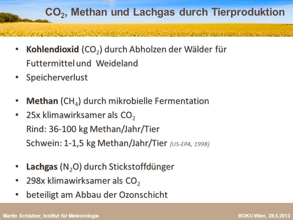 Martin Schlatzer, Institut für Meteorologie BOKU Wien, 28.5.2013 CO 2, Methan und Lachgas durch Tierproduktion 6 Kohlendioxid (CO 2 ) durch Abholzen d