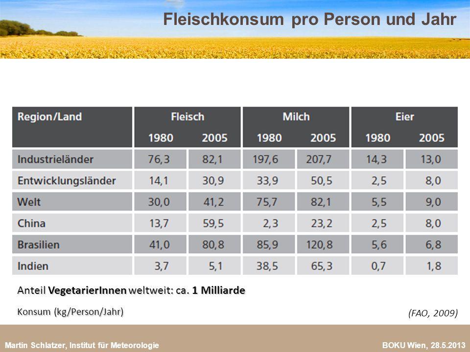 Martin Schlatzer, Institut für Meteorologie BOKU Wien, 28.5.2013 Fleischproduktion bis 2050 10 Bis 2050: Verdoppelung der Fleischproduktion auf 465 Mio.