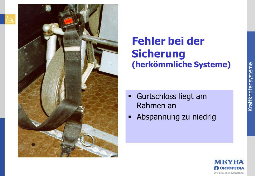 Kraftknotensysteme Gurtschloss liegt am Rahmen an Abspannung zu niedrig Fehler bei der Sicherung (herkömmliche Systeme)