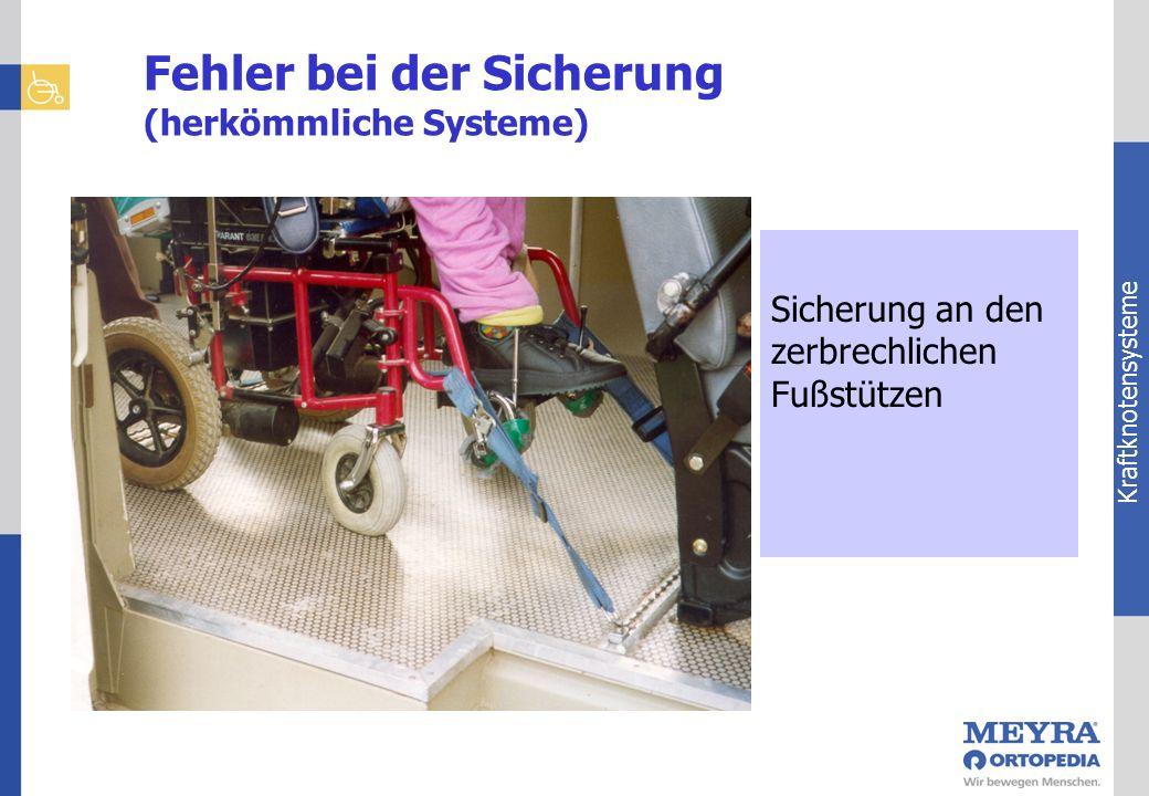 Kraftknotensysteme Sicherung an den zerbrechlichen Fußstützen Fehler bei der Sicherung (herkömmliche Systeme)