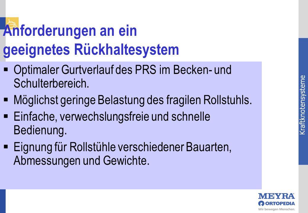 Kraftknotensysteme Anforderungen an ein geeignetes Rückhaltesystem Optimaler Gurtverlauf des PRS im Becken- und Schulterbereich. Möglichst geringe Bel