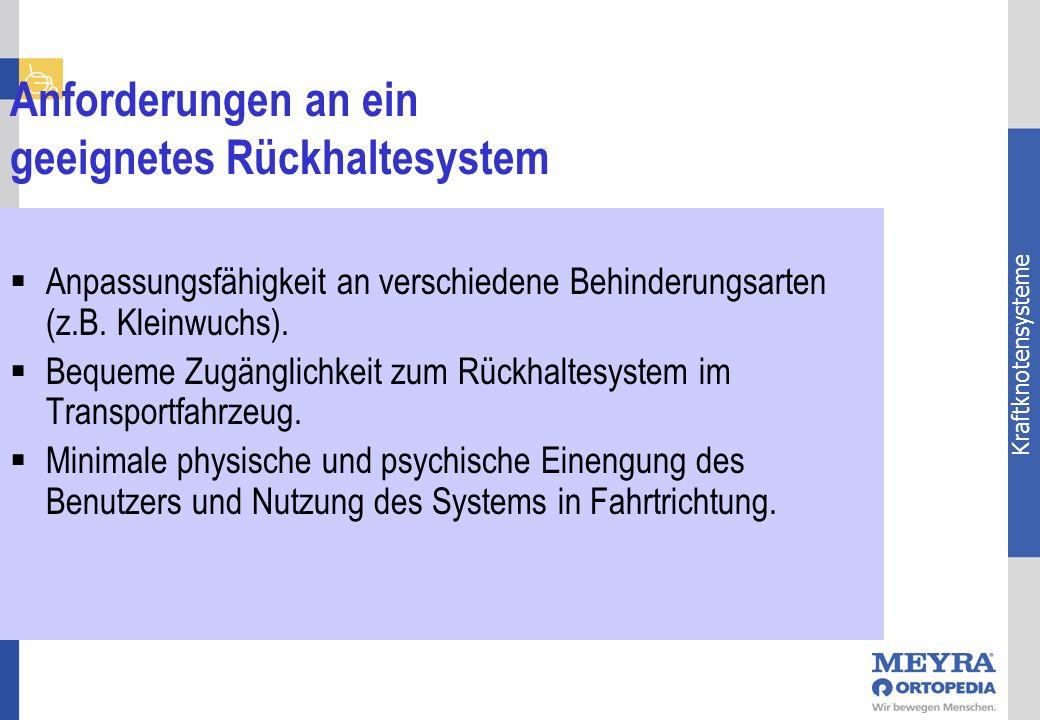 Kraftknotensysteme Anforderungen an ein geeignetes Rückhaltesystem Anpassungsfähigkeit an verschiedene Behinderungsarten (z.B. Kleinwuchs). Bequeme Zu