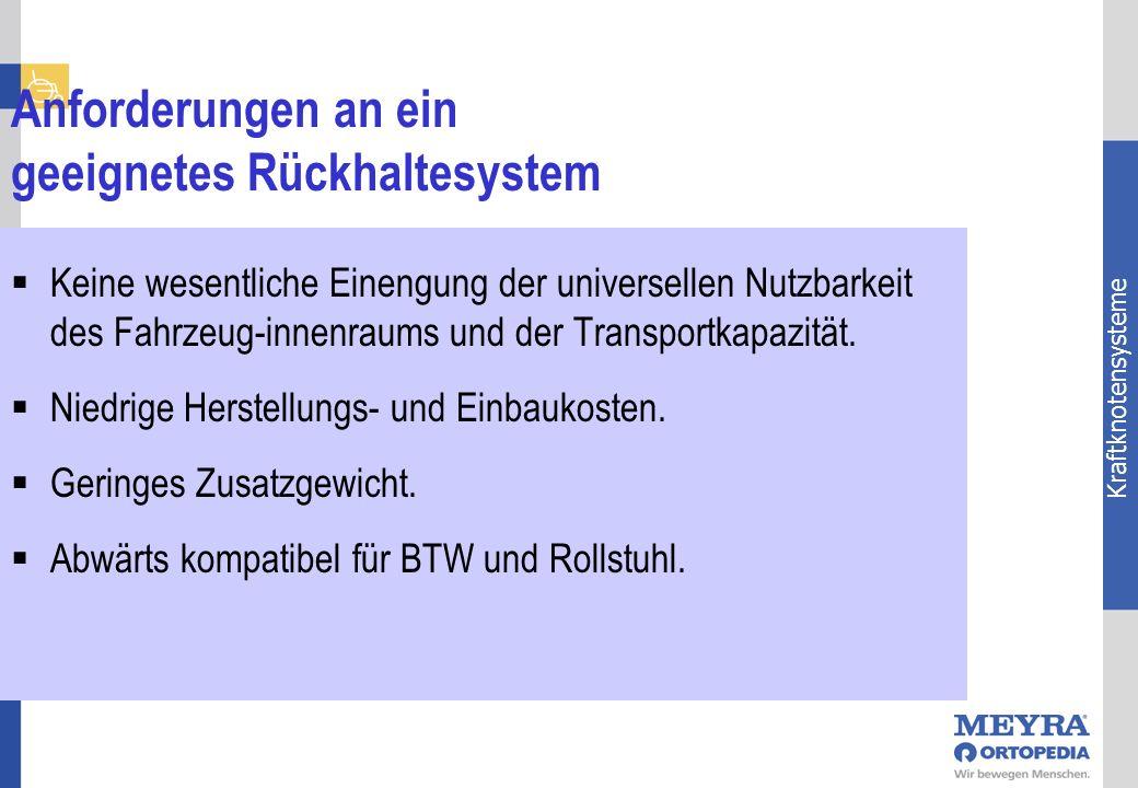 Kraftknotensysteme Anforderungen an ein geeignetes Rückhaltesystem Keine wesentliche Einengung der universellen Nutzbarkeit des Fahrzeug-innenraums un