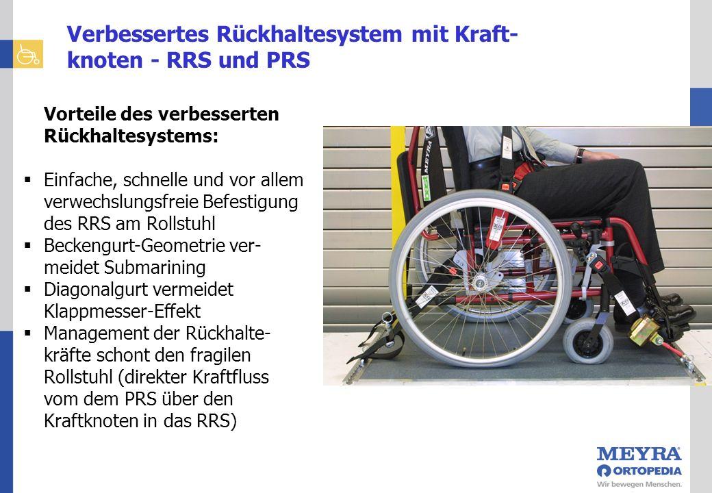 Kraftknotensysteme Vorteile des verbesserten Rückhaltesystems: Einfache, schnelle und vor allem verwechslungsfreie Befestigung des RRS am Rollstuhl Be