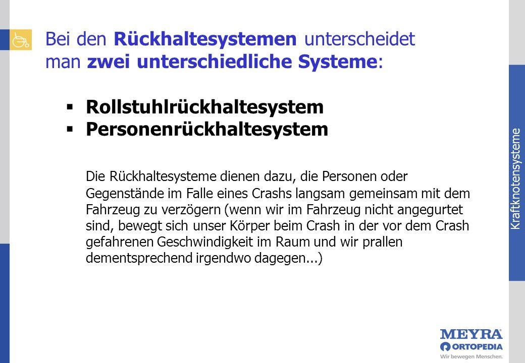 Kraftknotensysteme Bei den Rückhaltesystemen unterscheidet man zwei unterschiedliche Systeme: Rollstuhlrückhaltesystem Personenrückhaltesystem Die Rüc
