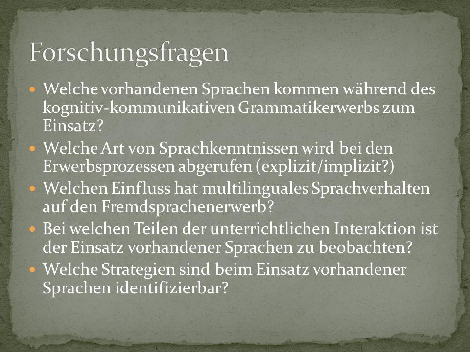 Welche vorhandenen Sprachen kommen während des kognitiv-kommunikativen Grammatikerwerbs zum Einsatz? Welche Art von Sprachkenntnissen wird bei den Erw