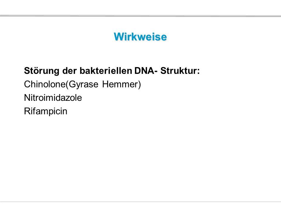 Wirkweise Störung der bakteriellen DNA- Struktur: Chinolone(Gyrase Hemmer) Nitroimidazole Rifampicin