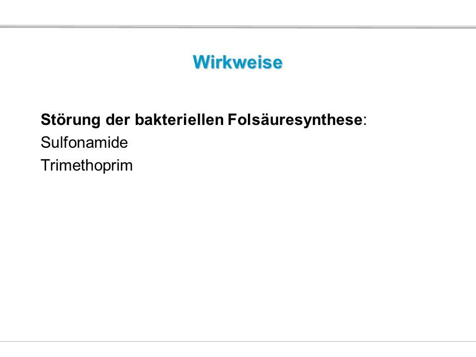 Wirkweise Störung der bakteriellen Folsäuresynthese: Sulfonamide Trimethoprim