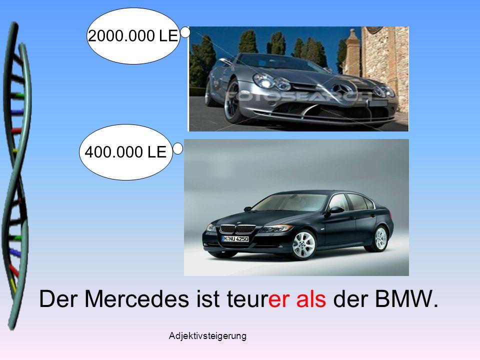 Adjektivsteigerung Der Mercedes ist teurer als der BMW. 2000.000 LE 400.000 LE