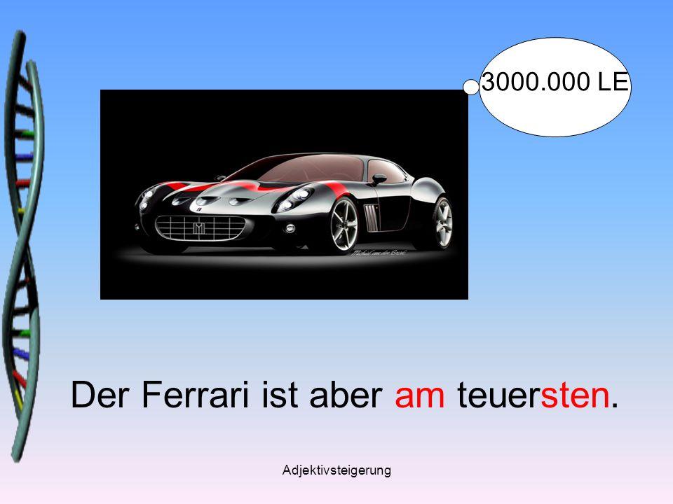 Adjektivsteigerung Der Ferrari ist aber am teuersten. 3000.000 LE