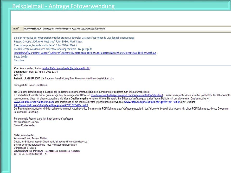 Beispielmail - Anfrage Fotoverwendung