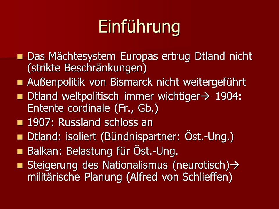 Einführung Das Mächtesystem Europas ertrug Dtland nicht (strikte Beschränkungen) Das Mächtesystem Europas ertrug Dtland nicht (strikte Beschränkungen)