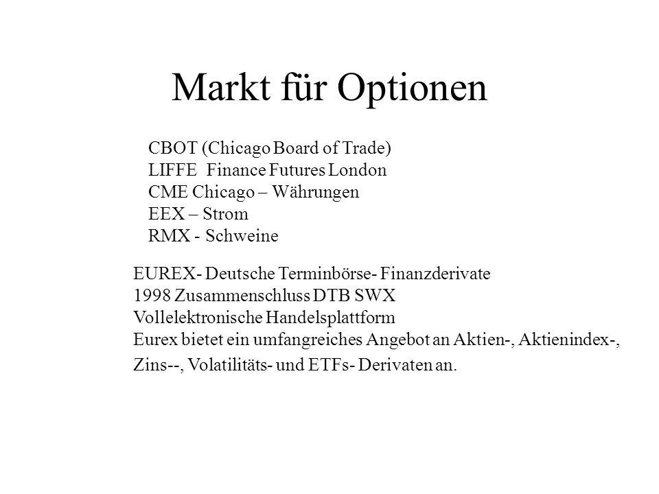 Markt für Optionen CBOT (Chicago Board of Trade) LIFFE Finance Futures London CME Chicago – Währungen EEX – Strom RMX - Schweine EUREX- Deutsche Termi