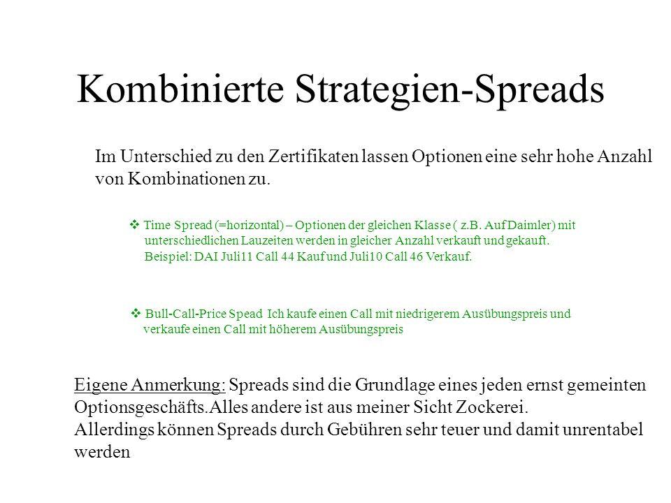 Kombinierte Strategien-Spreads Im Unterschied zu den Zertifikaten lassen Optionen eine sehr hohe Anzahl von Kombinationen zu. Time Spread (=horizontal