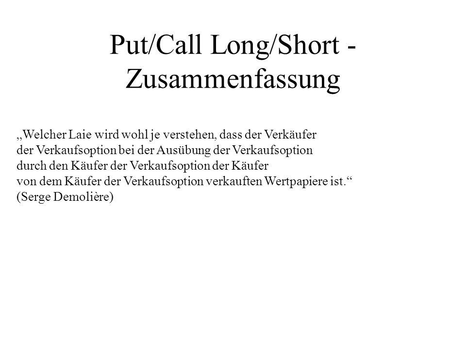 Put/Call Long/Short - Zusammenfassung Welcher Laie wird wohl je verstehen, dass der Verkäufer der Verkaufsoption bei der Ausübung der Verkaufsoption d