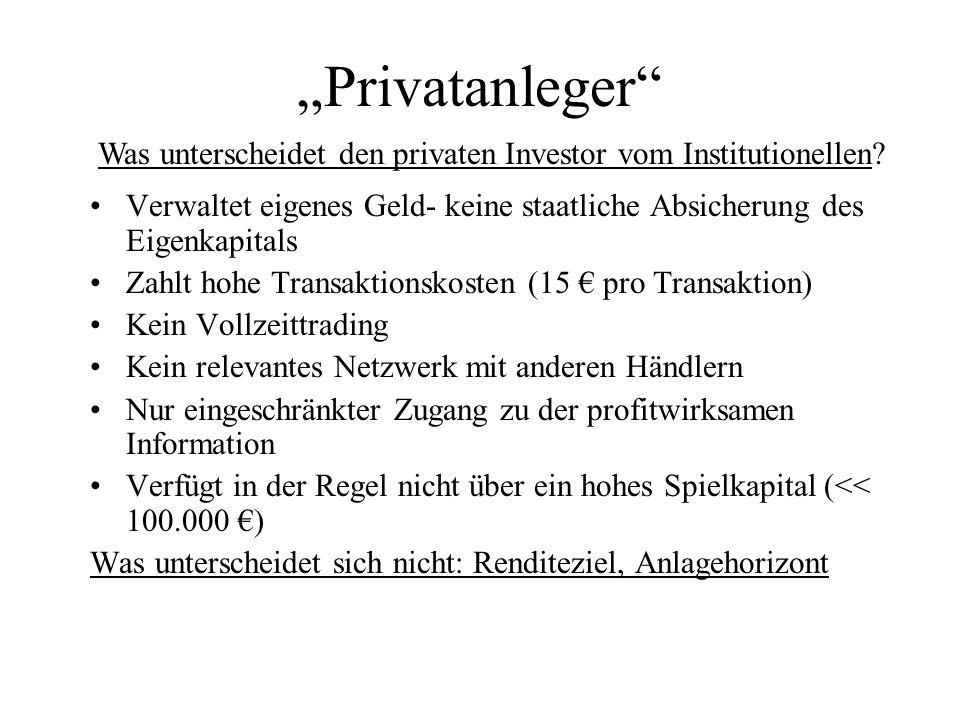 Privatanleger Verwaltet eigenes Geld- keine staatliche Absicherung des Eigenkapitals Zahlt hohe Transaktionskosten (15 pro Transaktion) Kein Vollzeitt