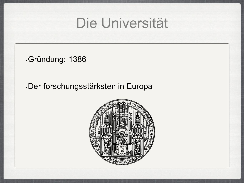 Die Universität Gründung: 1386 Der forschungsstärksten in Europa