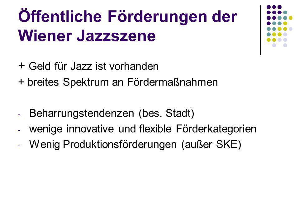 Öffentliche Förderungen der Wiener Jazzszene + Geld für Jazz ist vorhanden + breites Spektrum an Fördermaßnahmen - Beharrungstendenzen (bes. Stadt) -