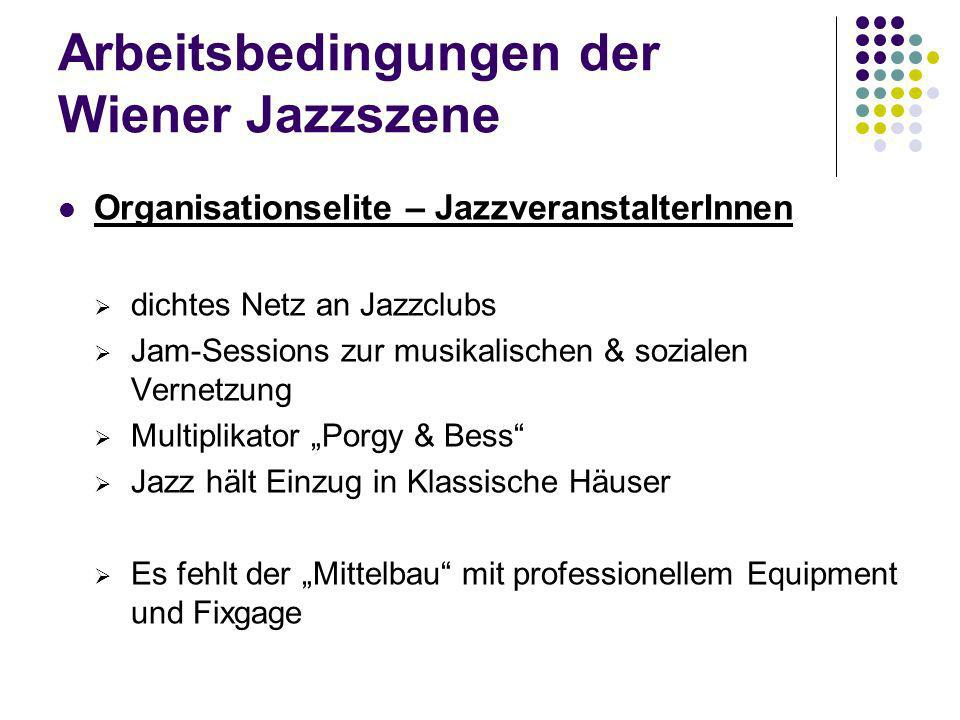 Arbeitsbedingungen der Wiener Jazzszene Organisationselite – JazzvermittlerInnen Geringe Anzahl an Jazzagenturen – aber große Nachfrage Schwierigkeit für Agenturen: 1) niedriges Gagenniveau 2) Marktwert des (jungen) Musikers zu niedrig 3) niedriger ökonomischer Gewinn Auswirkungen auf Qualität JazzmusikerInnen als SelbstmanagerInnen 1) Chancen: Autonomie, Selbstschutz, Individualität 2) Probleme: fehlendes know-how, Zeit-/Energieaufwand, Eigenwerbung