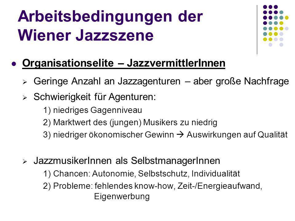 Arbeitsbedingungen der Wiener Jazzszene Reflexionselite – Szenemedien Geringe Rolle des Fernsehens für Jazz Radio: Ö1 und freie Radios 1) späte Sendezeiten niedrige Tantiemen 2) fehlende Jazz-Sendeformate 3) Radio als Berieselungsmedium Radioquote für (österreichischen) Jazz .