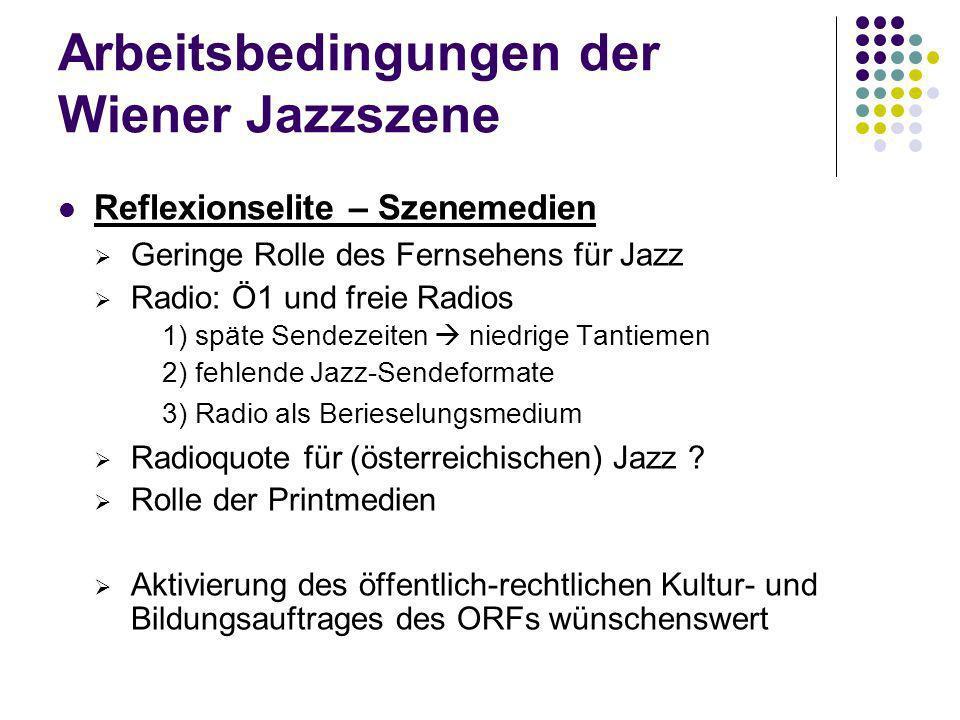 Arbeitsbedingungen der Wiener Jazzszene Reflexionselite – Szenemedien Geringe Rolle des Fernsehens für Jazz Radio: Ö1 und freie Radios 1) späte Sendez