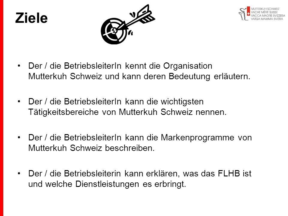 Ziele Der / die BetriebsleiterIn kennt die Organisation Mutterkuh Schweiz und kann deren Bedeutung erläutern. Der / die BetriebsleiterIn kann die wich