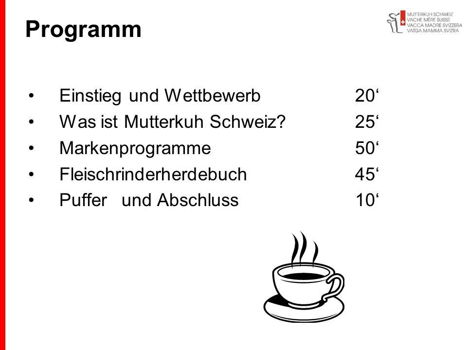 Programm Einstieg und Wettbewerb20 Was ist Mutterkuh Schweiz?25 Markenprogramme50 Fleischrinderherdebuch45 Pufferund Abschluss10