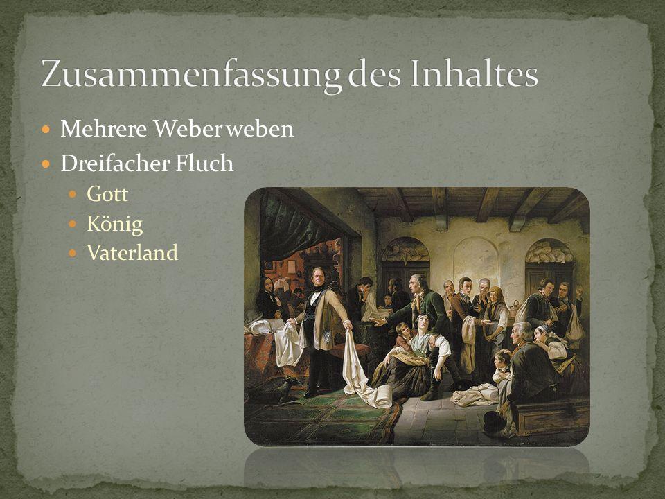 Mehrere Weber weben Dreifacher Fluch Gott König Vaterland