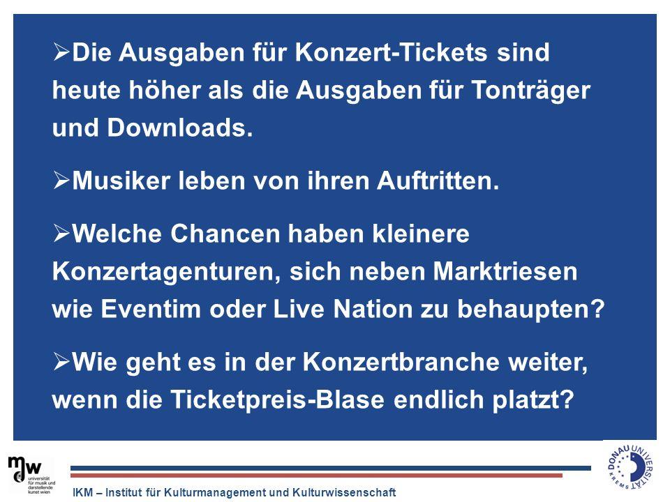 IKM – Institut für Kulturmanagement und Kulturwissenschaft Die Ausgaben für Konzert-Tickets sind heute höher als die Ausgaben für Tonträger und Downlo