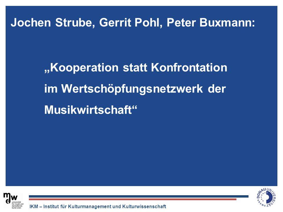 IKM – Institut für Kulturmanagement und Kulturwissenschaft Der Tonträger ist tot, aber die Musikindustrie ist quicklebendig. Kooperation statt Konfron