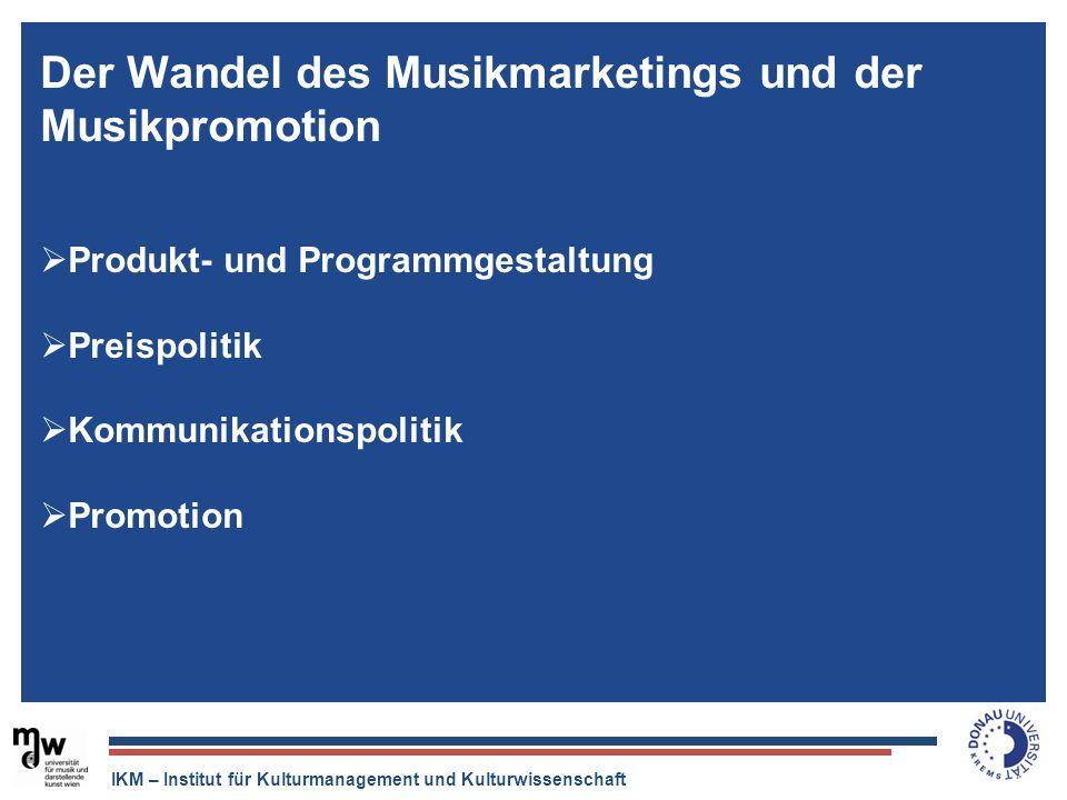 IKM – Institut für Kulturmanagement und Kulturwissenschaft Der Tonträger ist tot, aber die Musikindustrie ist quicklebendig. Der Wandel des Musikmarke