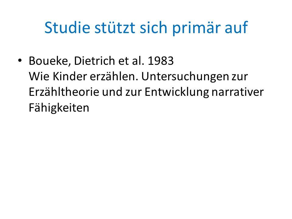 Studie stützt sich primär auf Boueke, Dietrich et al. 1983 Wie Kinder erzählen. Untersuchungen zur Erzähltheorie und zur Entwicklung narrativer Fähigk