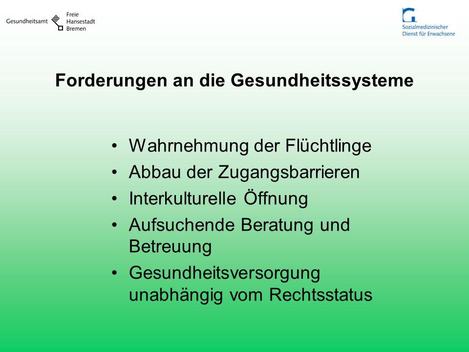 Forderungen an die Gesundheitssysteme Wahrnehmung der Flüchtlinge Abbau der Zugangsbarrieren Interkulturelle Öffnung Aufsuchende Beratung und Betreuun