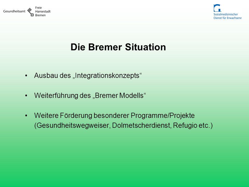 Die Bremer Situation Ausbau des Integrationskonzepts Weiterführung des Bremer Modells Weitere Förderung besonderer Programme/Projekte (Gesundheitswegw