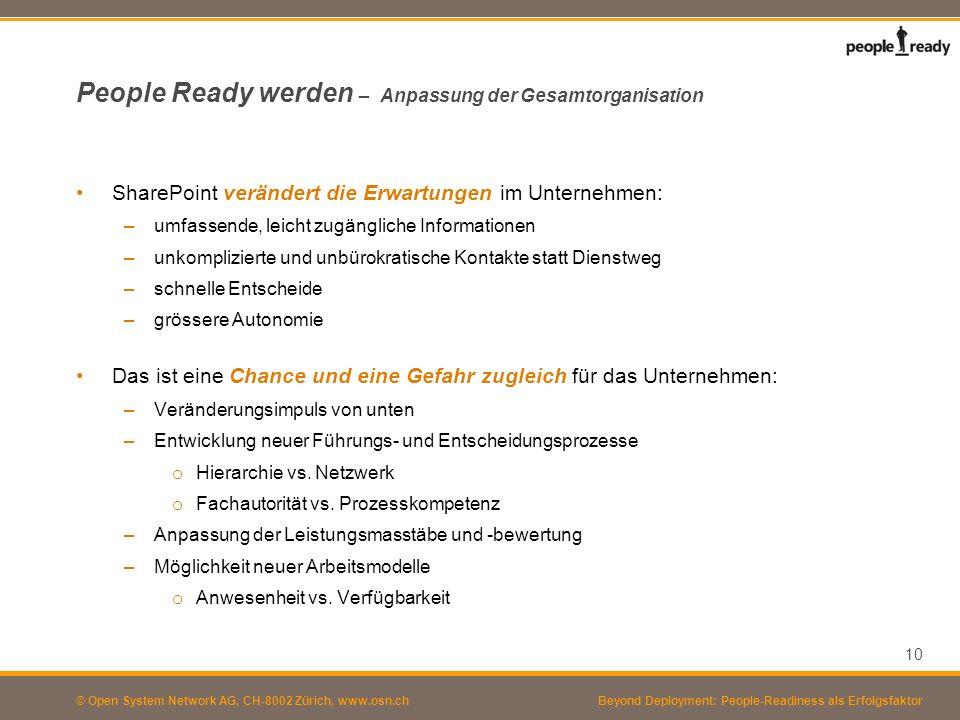 © Open System Network AG, CH-8002 Zürich, www.osn.ch People Ready werden – Anpassung der Gesamtorganisation SharePoint verändert die Erwartungen im Un